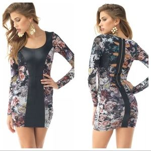 Sky Brand Floral Leather Cut Out Dress XS